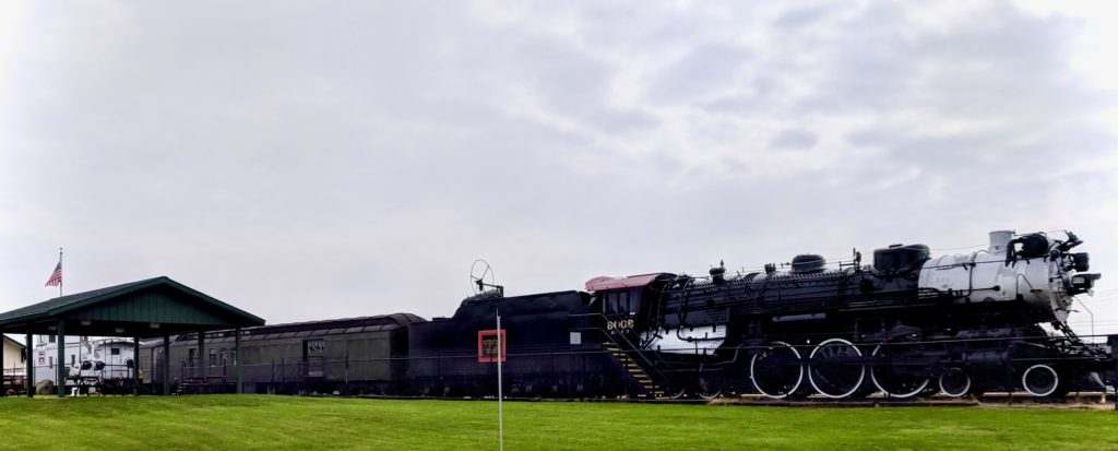 Locomotive and train cars at the Galesburg Railroad Museum. Photo by Zachary Whittenburg.